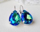 Blue rhinestone teardrop earrings / Aqua AB / Pear shape / Gift for her / aquamarine AB earrings / aurora borealis / leverback