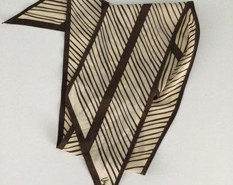 "Vintage 60s Vera Brown Stripe Scarf 58"""