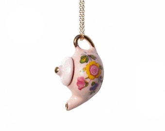pink tea pot necklace