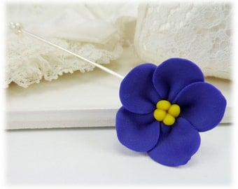Purple African Violet Brooch or Stick Pin - African Violet Jewelry, African Violet Flowers