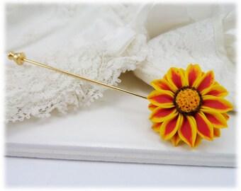 Gazania Brooch Pin - Red Stripe Gazania Jewelry