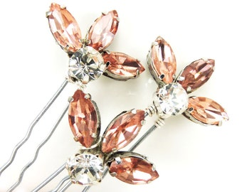 Adoring Pink Fan Rhinestone Hair Pins - Pink Crystal Wedding Pins, Pink Art Deco Style Fan Pins