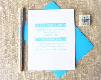 Letterpress Greeting Card - Humor Card - Mel+Mari - M.A.S.H. Predictions - MAM-491