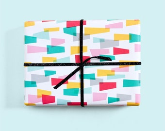 Jazzy Gift Wrap / Colorful Gift Wrap / Geometric Gift Wrap / Retro Wrapping Paper / Cute Wrapping Paper
