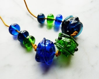 Lampwork  - Set of 9 bottle beads in Blue, Denim, Green - upcycled, recycled, eco-friendly - Necklace