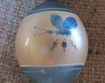 Vintage Blue And White Christmas Ornament With A Butterfly, Made In Poland, Ships Worldwide