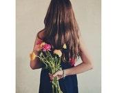 Portrait Photography, Dreamy, Surreal, Flowers, Faceless, Ranunculus, Conceptual, Modern Home Decor, Painterly Photograph, Fine Art Print
