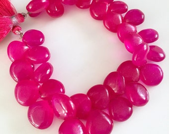 Gorgeous pink colored smooth chalcedony hearts