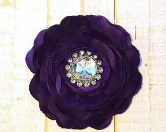 """Purple Flower Clip Purple Hair Flower 3.75"""" Ranunculus Rhinestone Hair Clip Wedding Bridesmaid Flower Girl Purple Hair Clip Bridal Sash Pin"""
