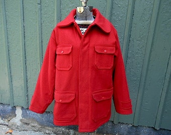 SALE Vintage Woolrich wool hunting field coat jacket, game pocket & chin strap, Mackinaw - men sz 42 large, womenunisex