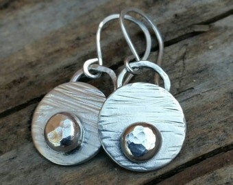 Sterling Silver Earrings - Rustic Hammered Texture Disc Dangle Drop Circle Earrings -handcrafted Jewelry By Helenes Dreams