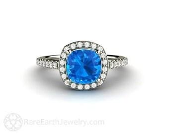 Cushion Swiss Blue Topaz Ring Diamond Halo Engagement Ring 14K or 18K Gold Custom Gemstone Ring
