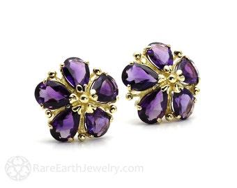 14K Gold Gemstone Flower Earrings Birthstone Earrings Amethyst Citrine Garnet Peridot Topaz Post Earrings