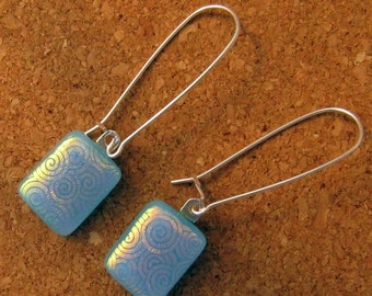 SALE Blue Dichroic Fused Glass Earrings Glass Earrings Dichroic Jewelry Fused Glass Earrings