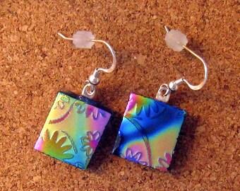 Dichroic Earrings - Flower Earrings - Fused Glass Earrings - Dichroic Jewelry - Fused Glass Jewelry - Glass Earrings