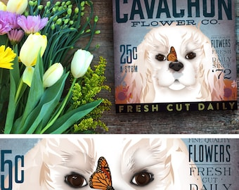 Cavachon Dog flower company illustration graphic art on gallery wrapped canvas by stephen fowler