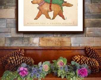 Golden Retriever dog Christmas Tree artwork unframed Signed Print by Stephen Fowler