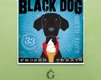 BLACK dog ice cream company artwork illustration giclee archival signed artists print  by stephen fowler