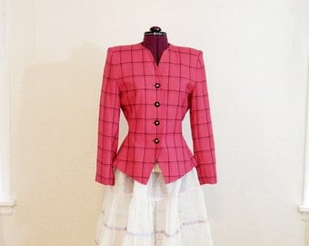 Awesome Vintage 80s 90s Suit Jacket, Womans Jacket, Short Tailored Jacket, PINK, Le Suit Brand, Office Attire, Fitted Jacket, Fun and Unique
