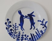 LP003 Hand Painted Dancing Hares Large Plate