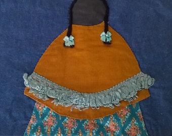 Demin Quilt Block, Appliqued with Indian Maiden, Repurpose into A tote bag OR Vintage, Puebla look, Unusual