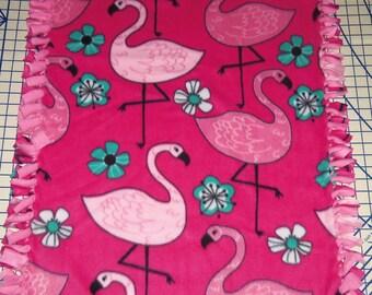 Flamingos Fleece Baby Blanket Dog Pet Lap Hand Tied Security Pink