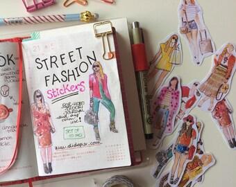 Street Fashion girls STICKERS (set of 11) fashion illustration, watercolor drawing, planner decoration, hobonichi