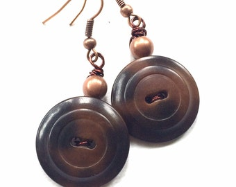 Brown Vintage Button Earrings - Earthy Browns