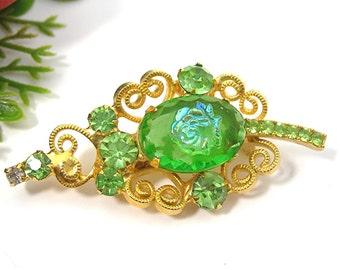 Delizza and Elster Leaf Brooch, Peridot Green Rhinestones, Intaglio Cameo Rose Art Glass Center Stone, Vintage 1960 D&E Costume Jewelry