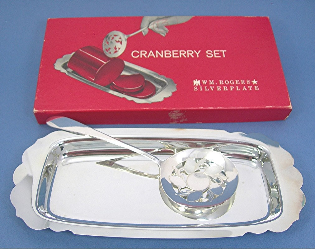 Wm Rogers Silverplate Cranberry Set Slotted Spoon Tray