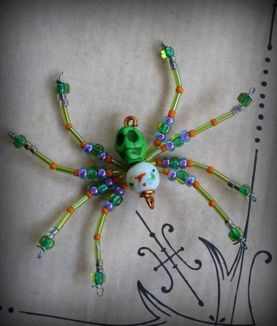 Green Day of the Dead Skull Spider Suncatcher Ornament ...