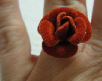 Adjustable Red Felt Rose Adjustable Ring