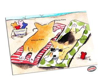 Corgi Dog Art Pembroke Welsh Corgi Beach Corgis Corgi ACEO Print ACEO corgi lover corgi print corgi ACEO dog art Denise Every