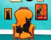 The Turquoise Room - CAT Folk Art Giclee Print 8x10, 11x14