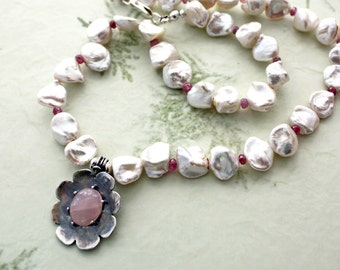 Rose Quartz Silver Flower and Keishi Pearl Choker Necklace, Freshwater Pearl Boho Fashion Necklace