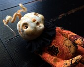 Halloween Shelf Sitter Art Doll in Orange and Black Jumpsuit