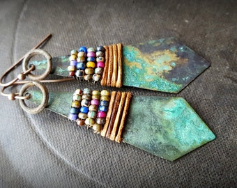 Boho, Gypsy, Copper, South West, Tribal, Leather, Artisan Made, Dangle, Copper Beaded Earrings