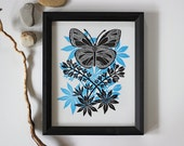 Butterfly Print, Blue Butterfly Art, Fender's Blue Butterfly, Linocut Butterfly Print, Oregon Butterfly, Endangered Species Art, Letterpress