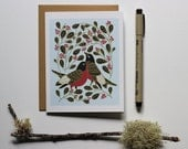 Blank Robin Card, Single Card, Bird Art, Robins of Winter, Holiday Card, Robins, Nature Inspired, Note Card, Xmas Card, Gift for Birder