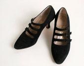 Vintage Ferragamo Heels - Black Suede Triple Strap Heels - Size 6 1/2