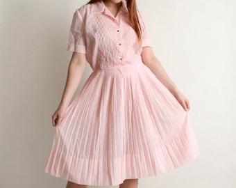 ON SALE Vintage 1950s Dress - Soft Cotton Candy Pink Pintuck Shirtwaist Dress - Large