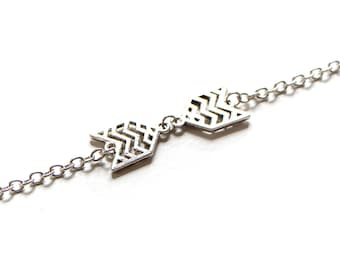 Double Chevron Antique Silver Bracelet
