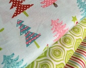 SALE fabric, Christmas fabric, Holiday fabric, Christmas Tree Fabric, Fabric by the Yard- Fabric Bundle of 3, Choose The Cuts