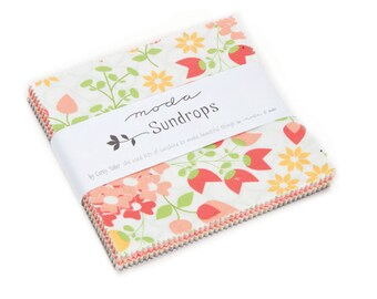 25% off Precuts SALE fabric, Sundrops Charm Pack, Corey Yoder by Moda, 5 inch squares of Entire Line, Quilting squares, Charm Squares