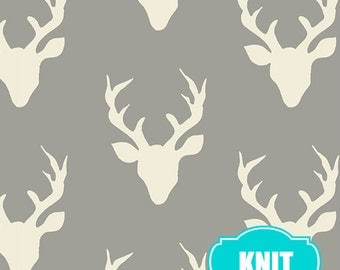 Hello Bear KNIT fabric by Bonnie Christine, Art Gallery Fabrics, Jersey Knit, Stretch fabric- Buck Forest in Mist, You Choose the Cut