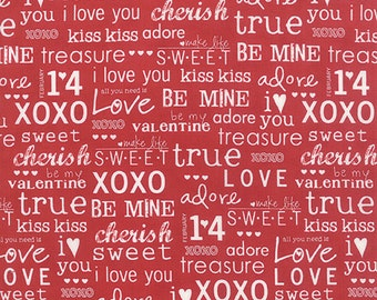SALE fabric, 6 dollars per yard, Text fabric, Fabric with words, Quilting fabric, Sweetwater Valentine xoxo- Cotton Fabric by the Yard