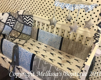 Custom Rustic & MOD Deer Palette Arrows and Woodgrain Navy Blue and Grey Boutique Designer 4 Piece Crib Bedding Set with Mobile