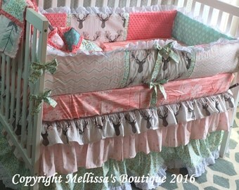 Custom 3 Tier Ruffled Rustic Shabby Chic Deer Coral Mint Blush Gold Metallic Boutique Complete Crib Bedding Set CHOOSE and CUSTOMIZE