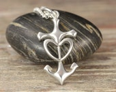 Anchored in Love - Anchor Heart Sterling Silver Pendant