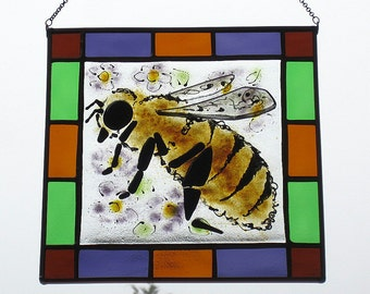 Fused Glass Honey Bee Stained Glass Square Hanging Panel